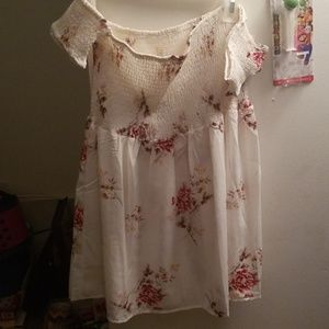 Floral Off White Strapless Mini Dress